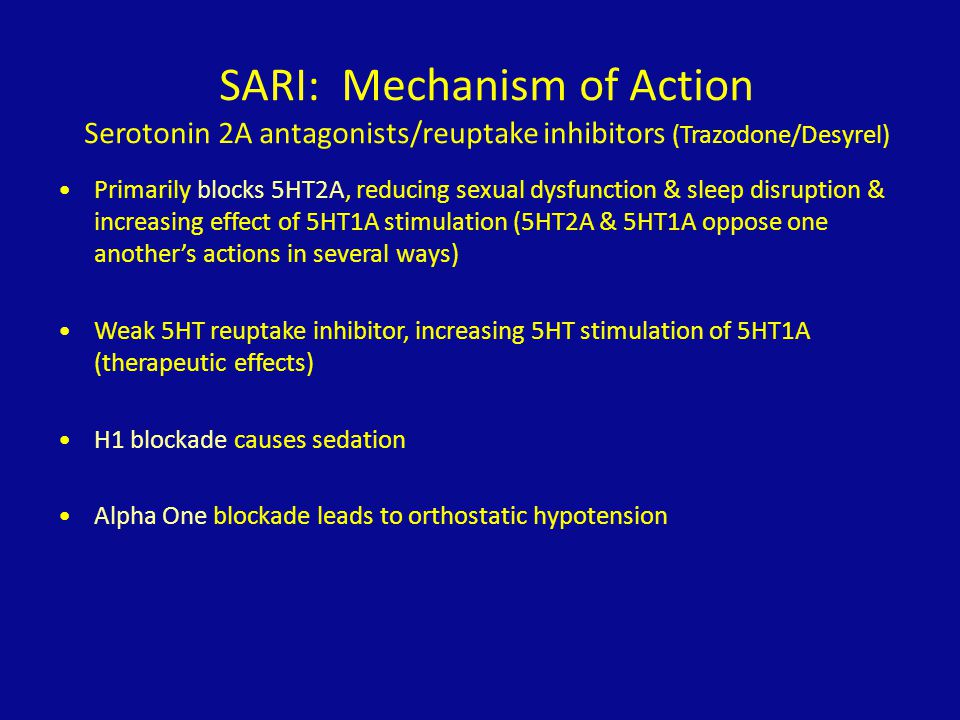 SARI: Mechanism of Action Serotonin 2A antagonists/reuptake inhibitors (Trazodone/Desyrel)