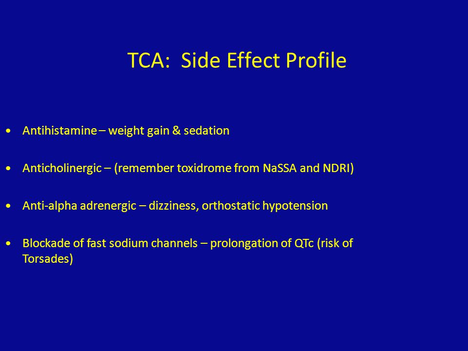 TCA: Side Effect Profile