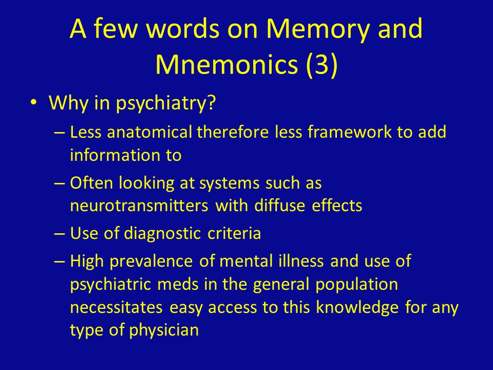 A few words on Memory and Mnemonics (3)