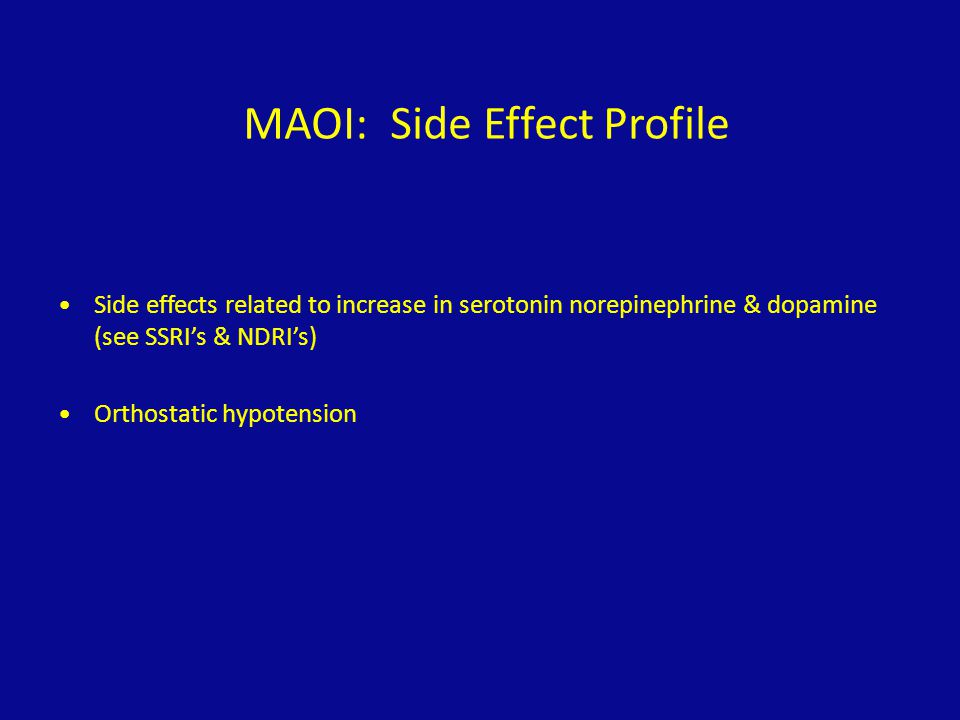 MAOI: Side Effect Profile