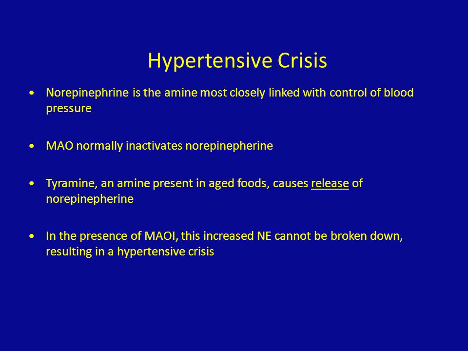 Hypertensive Crisis Norepinephrine is the amine most closely linked with control of blood pressure.