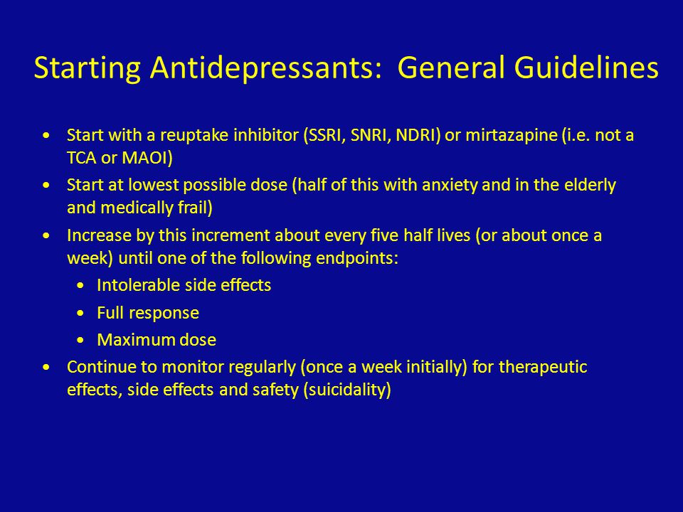 Starting Antidepressants: General Guidelines
