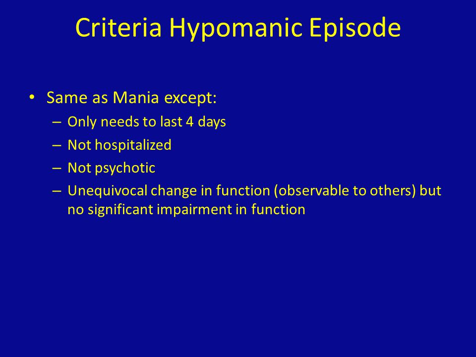 Criteria Hypomanic Episode