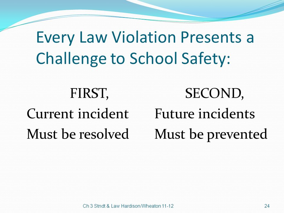Every Law Violation Presents a Challenge to School Safety: