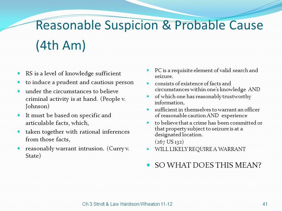 Reasonable Suspicion & Probable Cause (4th Am)