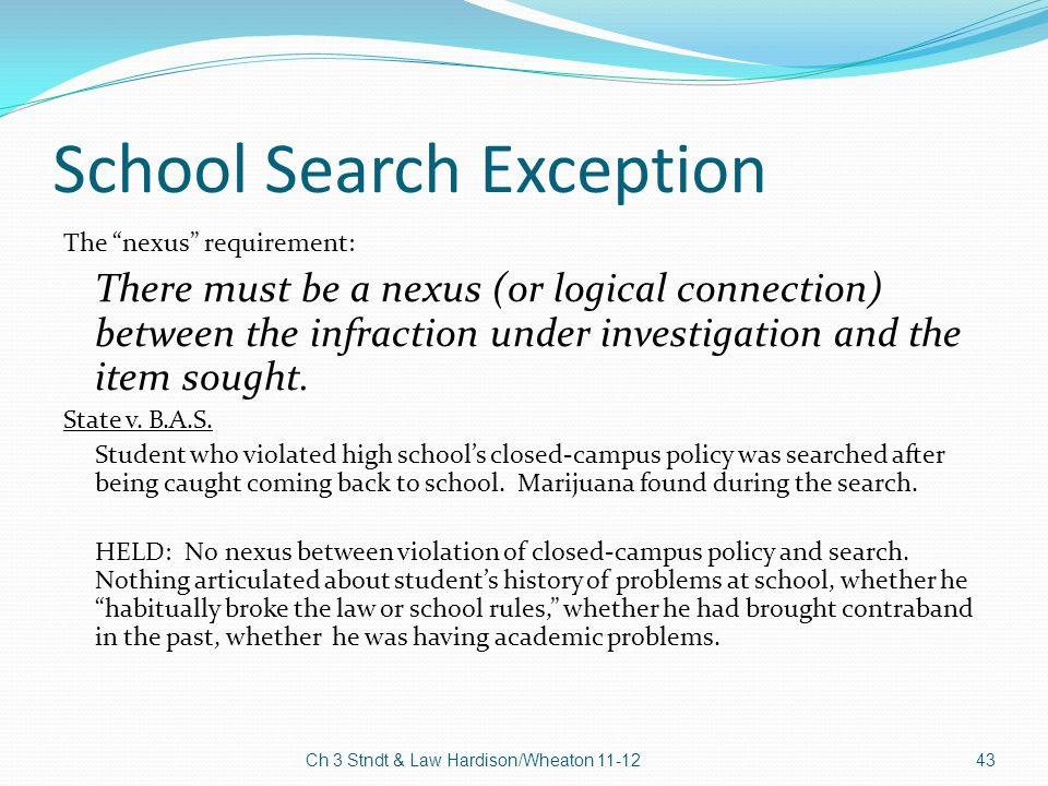 School Search Exception