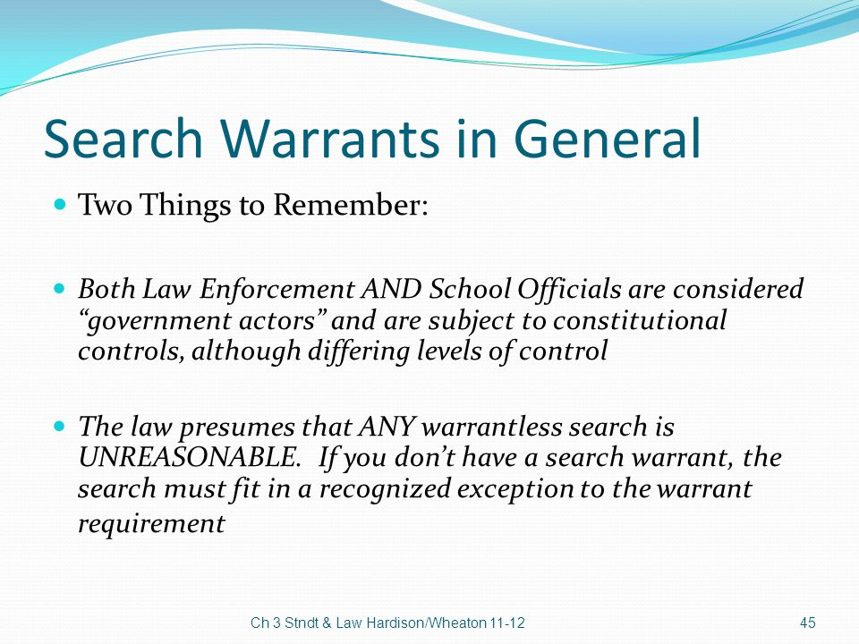 Search Warrants in General