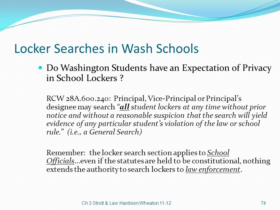 Locker Searches in Wash Schools