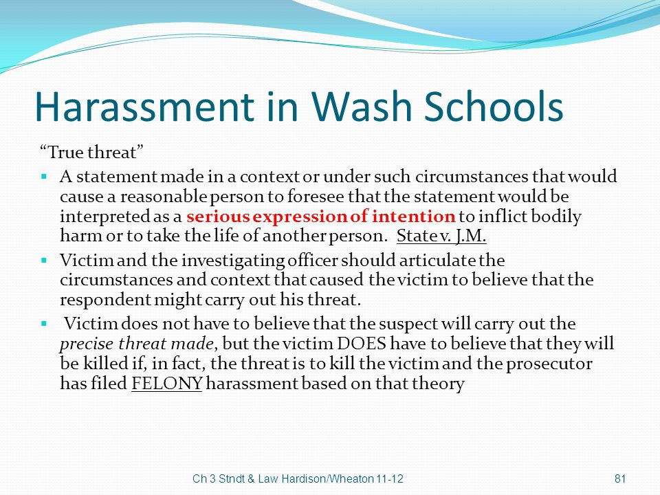 Harassment in Wash Schools