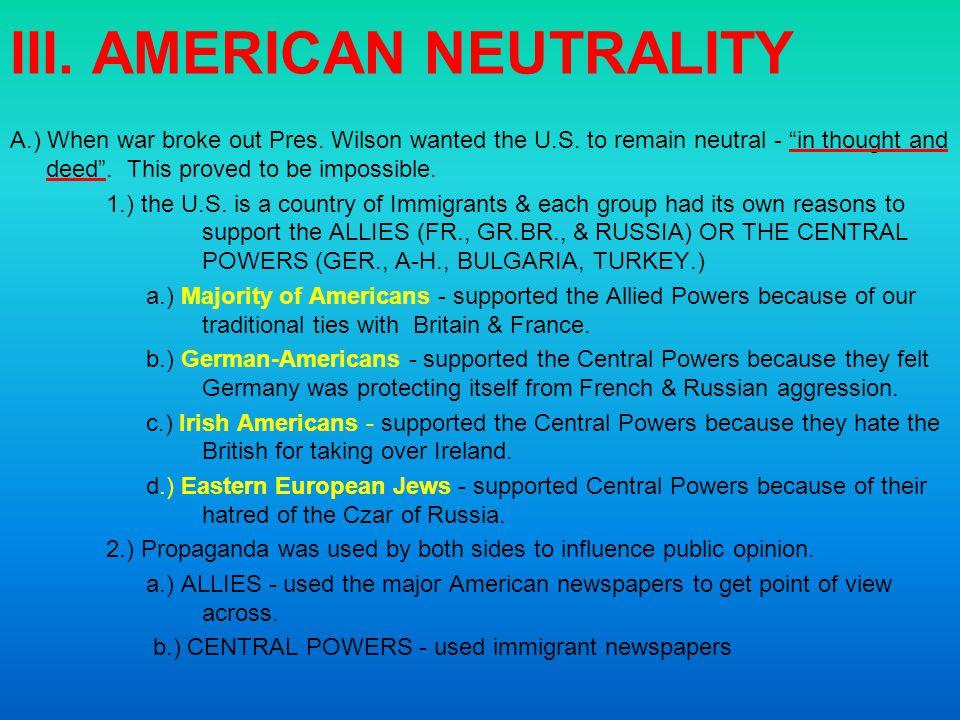 III. AMERICAN NEUTRALITY