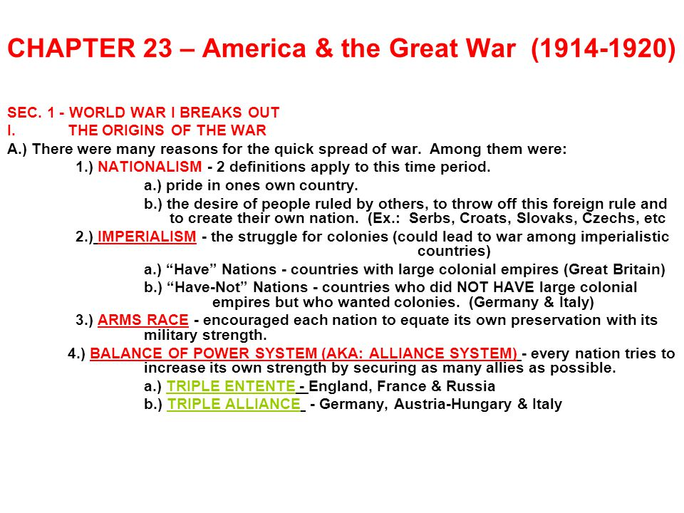 CHAPTER 23 – America & the Great War (1914-1920)