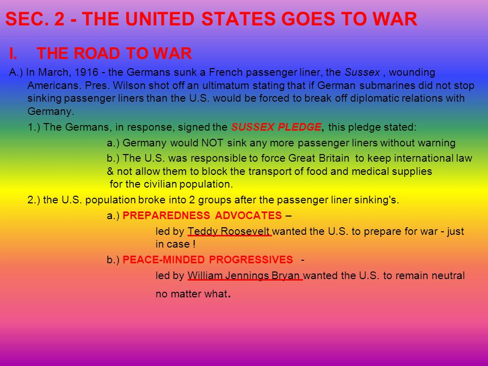 SEC. 2 - THE UNITED STATES GOES TO WAR