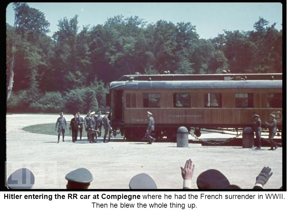 Hitler entering the RR car at Compiegne where he had the French surrender in WWII.