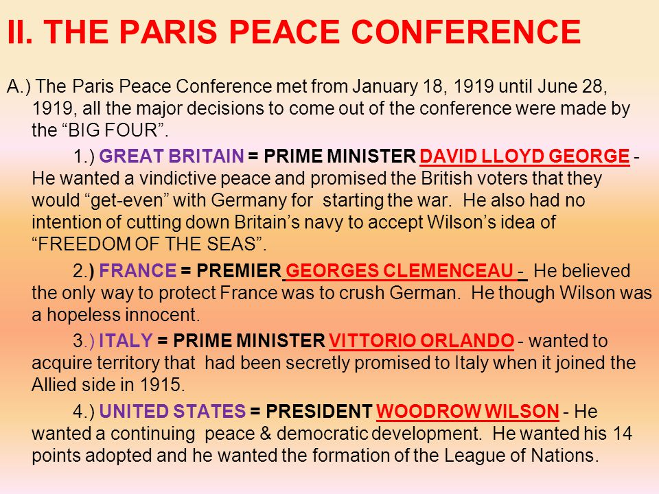 II. THE PARIS PEACE CONFERENCE