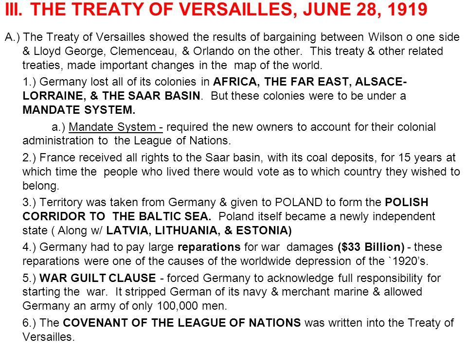 III. THE TREATY OF VERSAILLES, JUNE 28, 1919