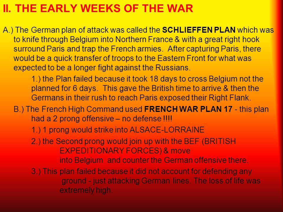 II. THE EARLY WEEKS OF THE WAR