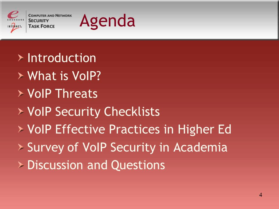 Agenda Introduction What is VoIP VoIP Threats