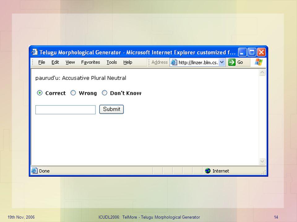 ICUDL2006: TelMore - Telugu Morphological Generator
