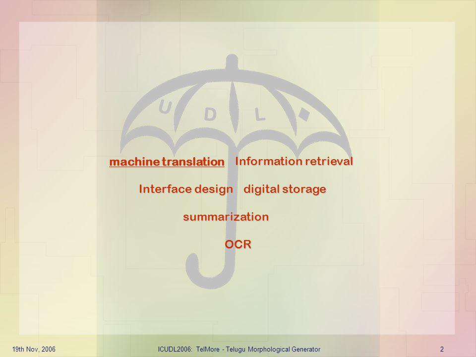  U D L machine translation Information retrieval Interface design