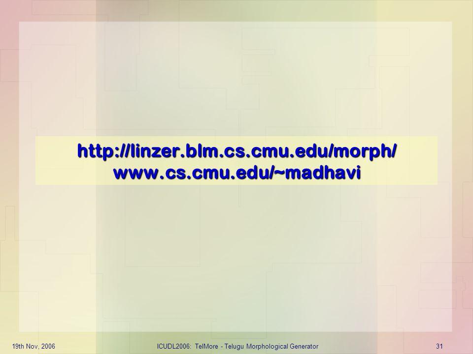 http://linzer.blm.cs.cmu.edu/morph/ www.cs.cmu.edu/~madhavi
