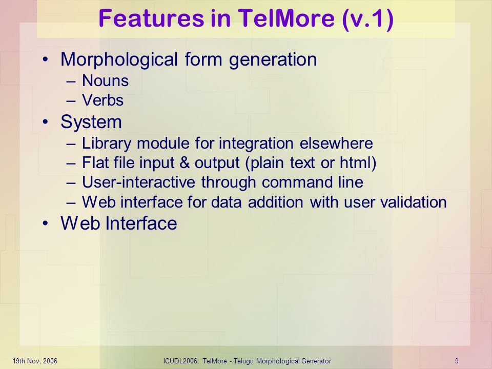 Features in TelMore (v.1)