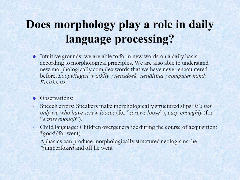 Does morphology play a role in daily language processing