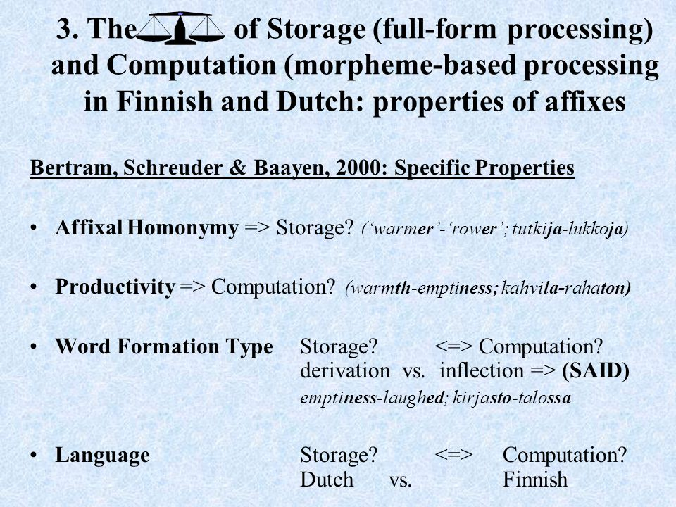 3. The of Storage (full-form processing) and Computation (morpheme-based processing in Finnish and Dutch: properties of affixes