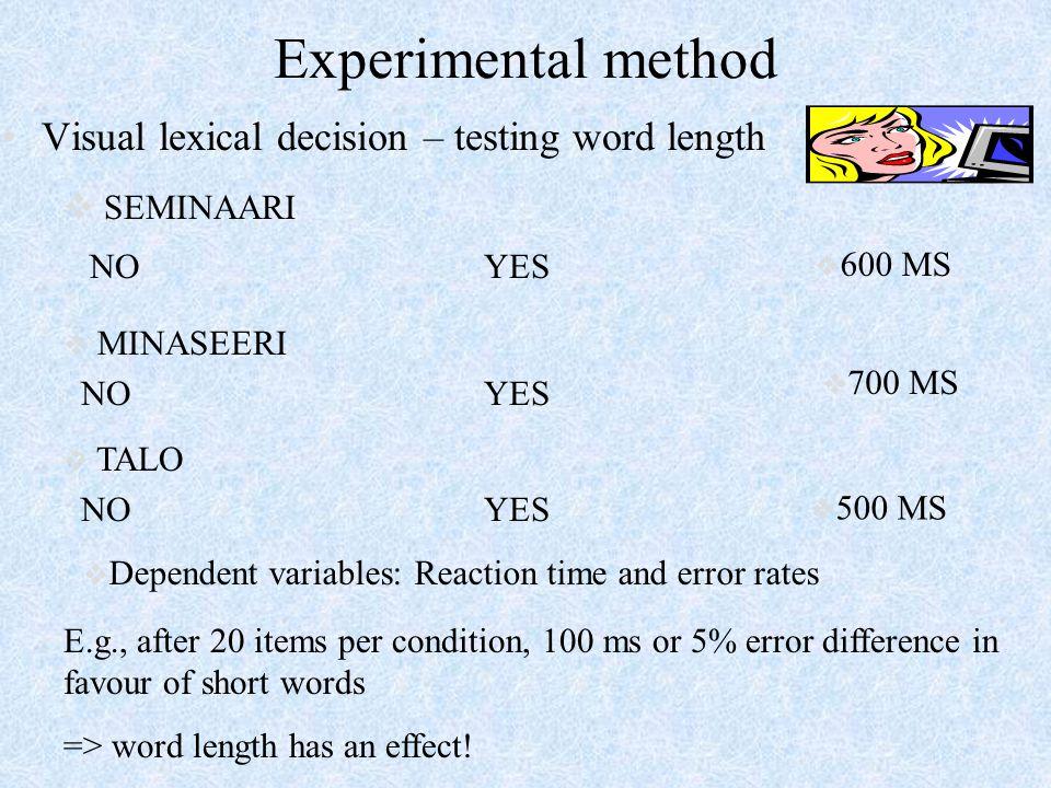 Experimental method Visual lexical decision – testing word length