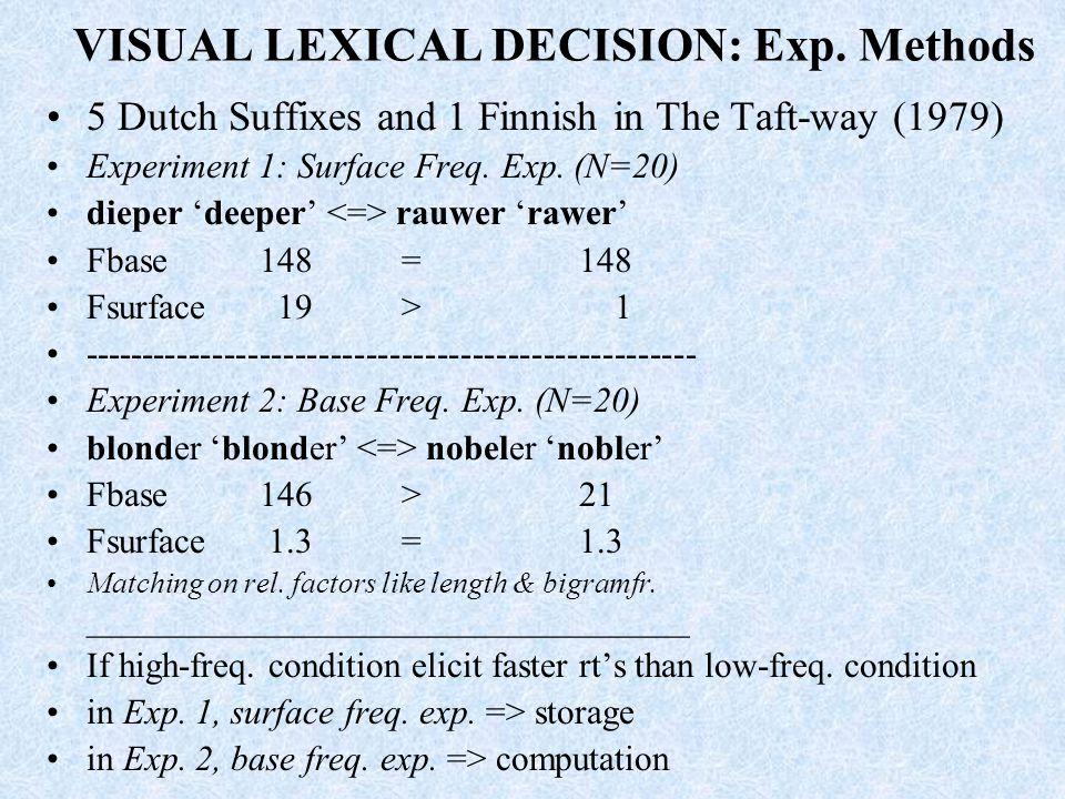 VISUAL LEXICAL DECISION: Exp. Methods