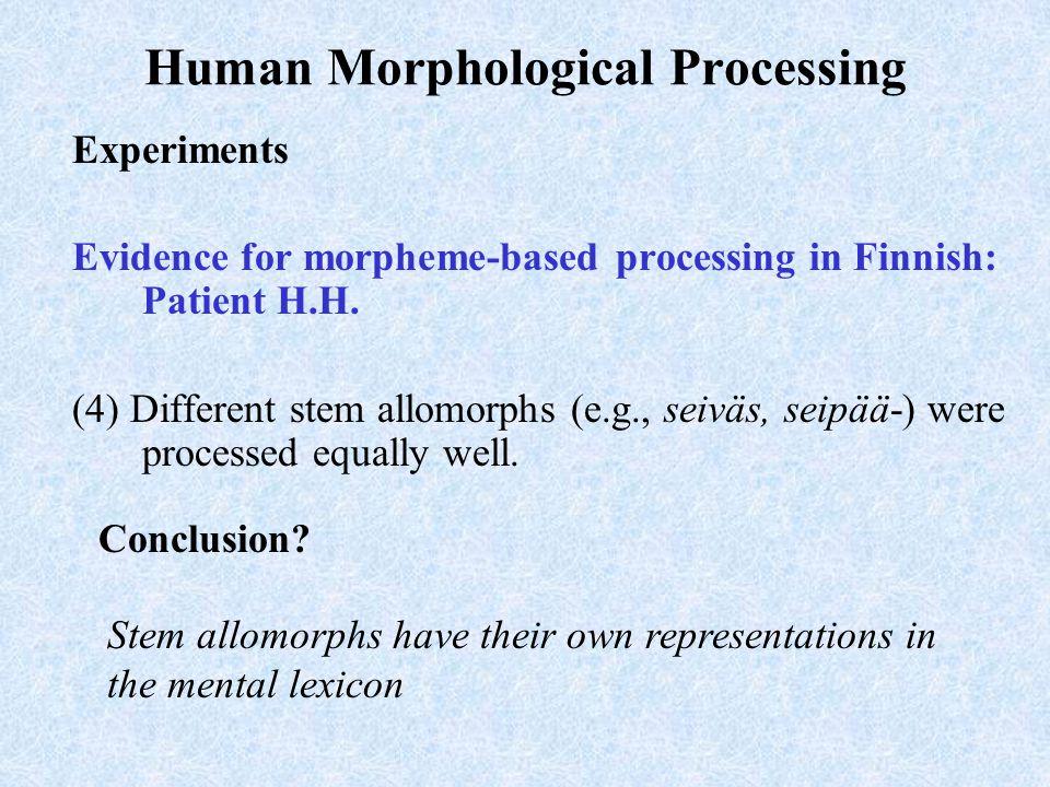 Human Morphological Processing