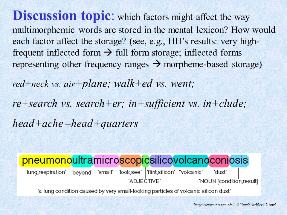Discussion topic: which factors might affect the way multimorphemic words are stored in the mental lexicon How would each factor affect the storage (see, e.g., HH's results: very high-frequent inflected form  full form storage; inflected forms representing other frequency ranges  morpheme-based storage)