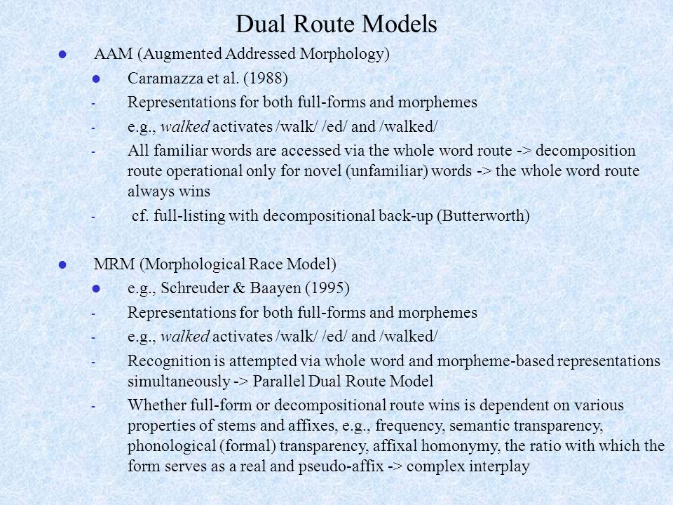Dual Route Models AAM (Augmented Addressed Morphology)