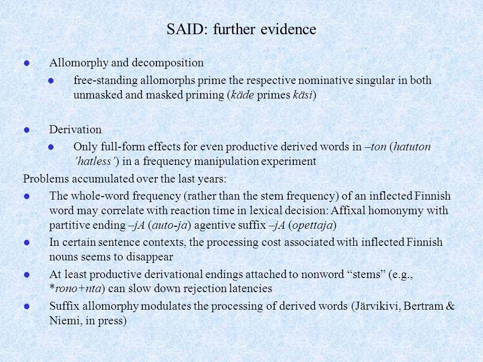 SAID: further evidence