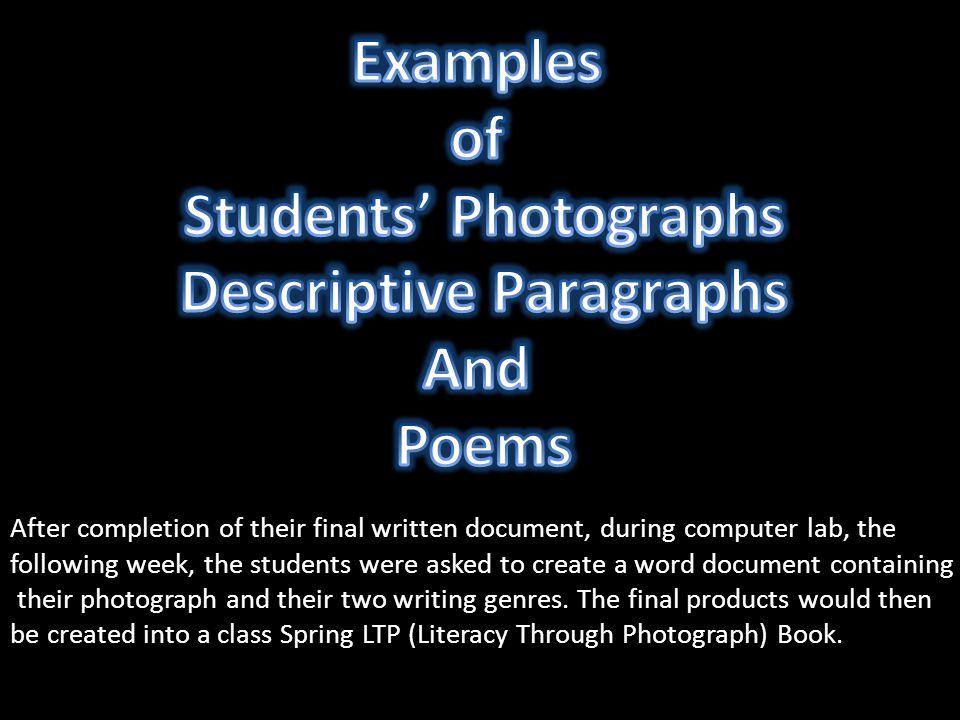 Students' Photographs Descriptive Paragraphs