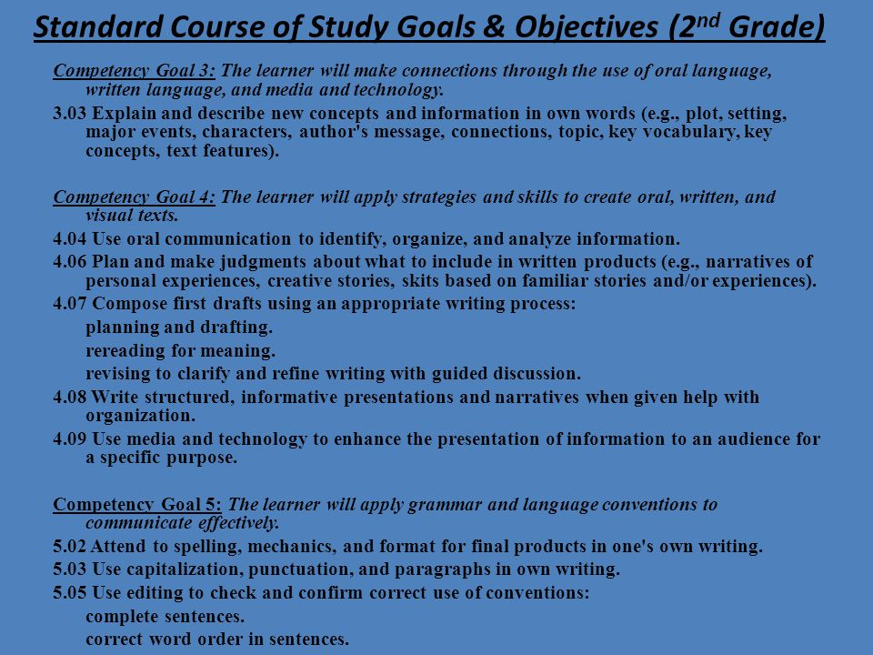 Standard Course of Study Goals & Objectives (2nd Grade)