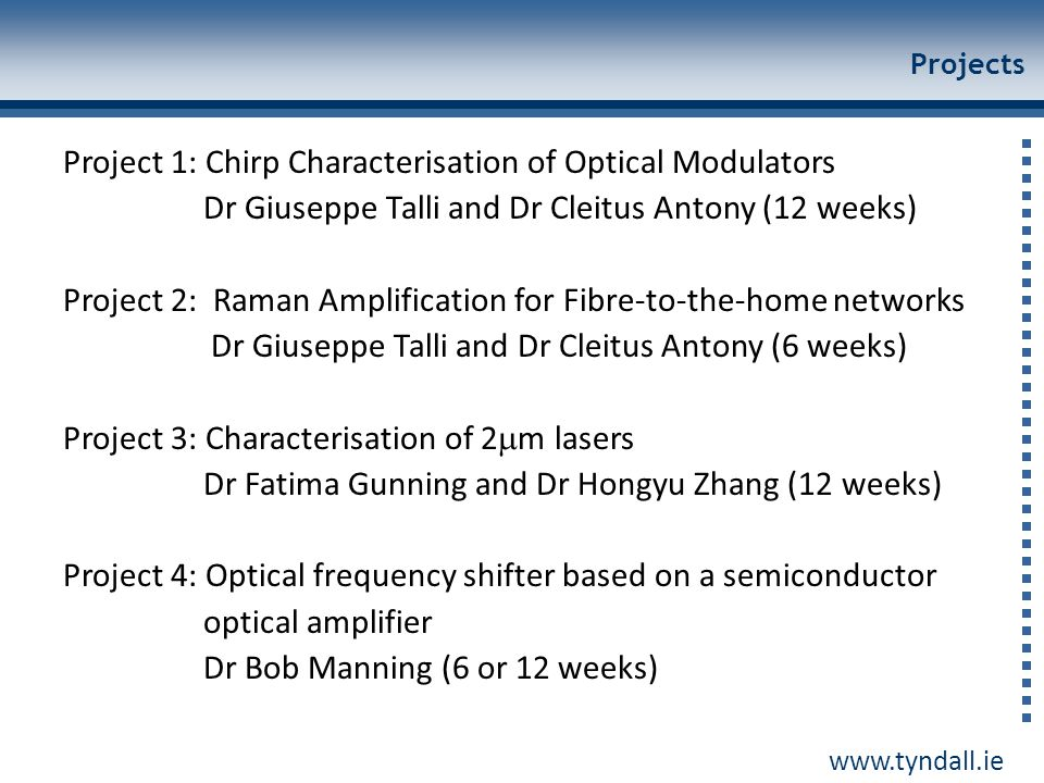 Project 1: Chirp Characterisation of Optical Modulators