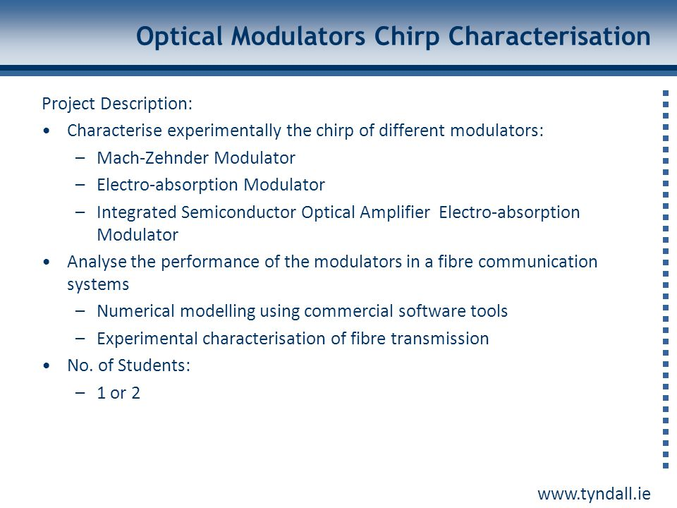 Optical Modulators Chirp Characterisation