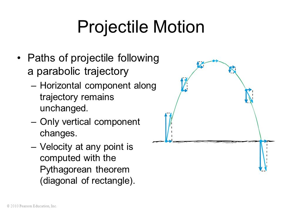 Projectile Motion Paths of projectile following a parabolic trajectory