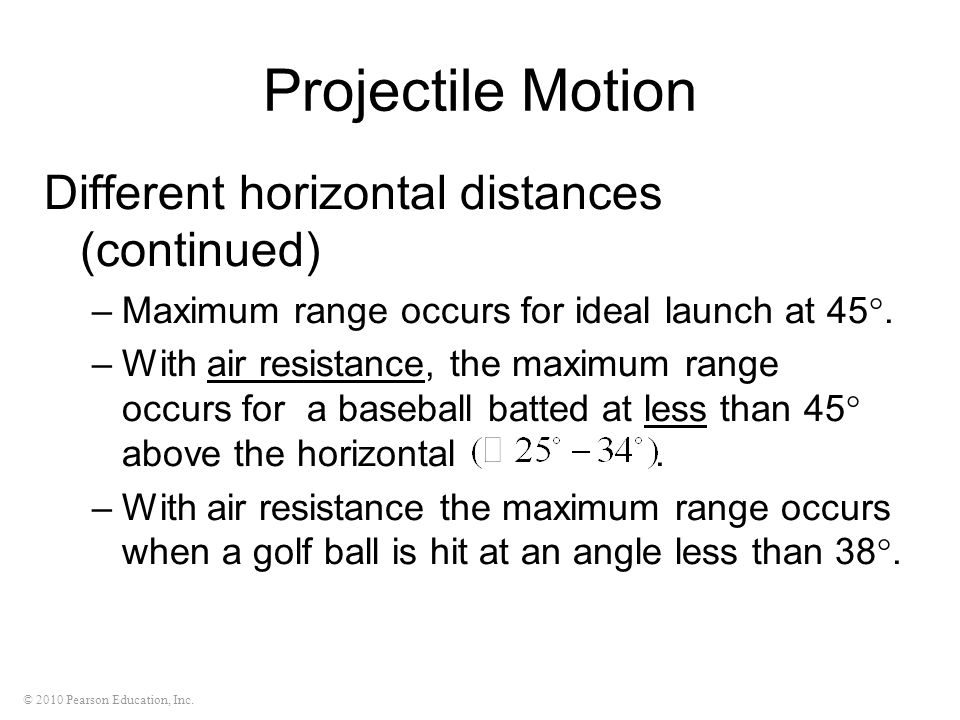 Projectile Motion Different horizontal distances (continued)