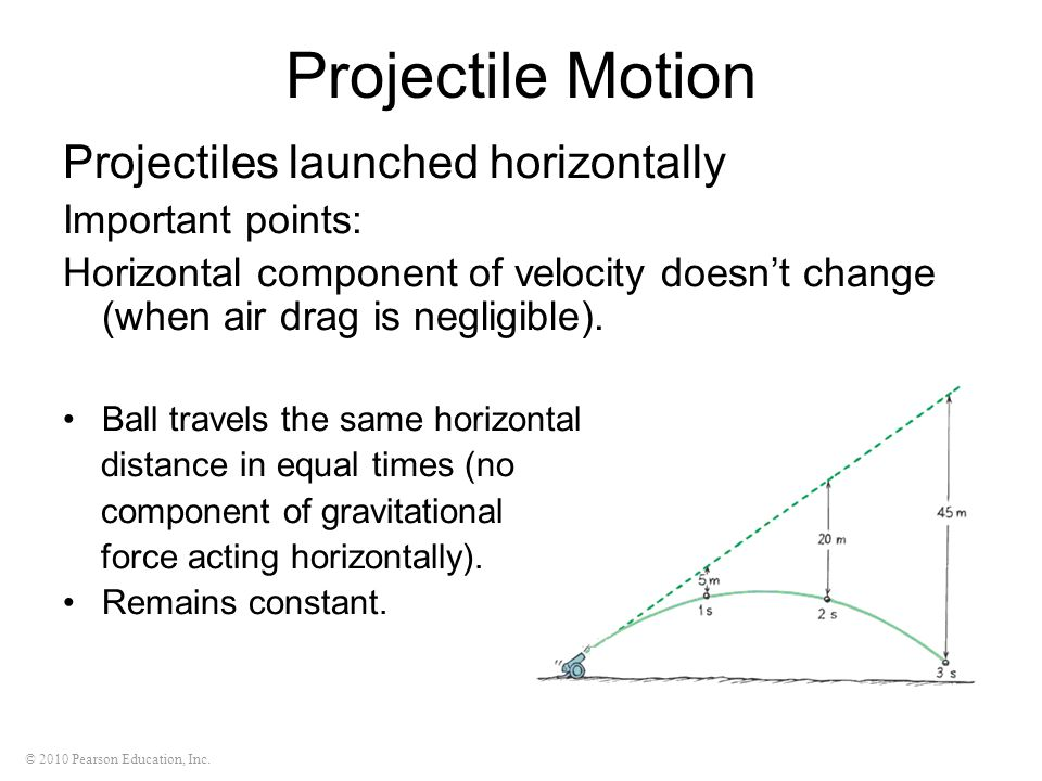 Projectile Motion Projectiles launched horizontally Important points: