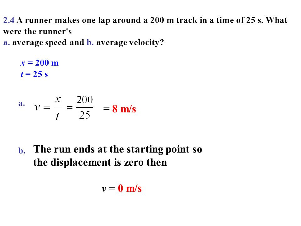 The run ends at the starting point so the displacement is zero then