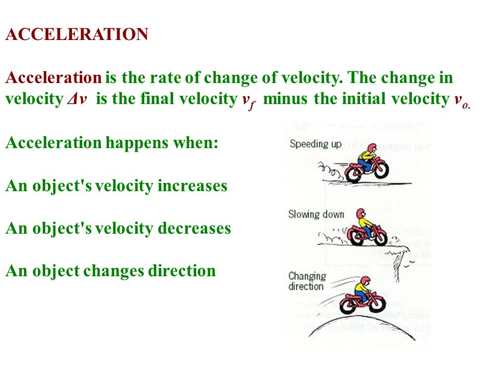 ACCELERATION Acceleration is the rate of change of velocity. The change in velocity Δv is the final velocity vf minus the initial velocity vo.