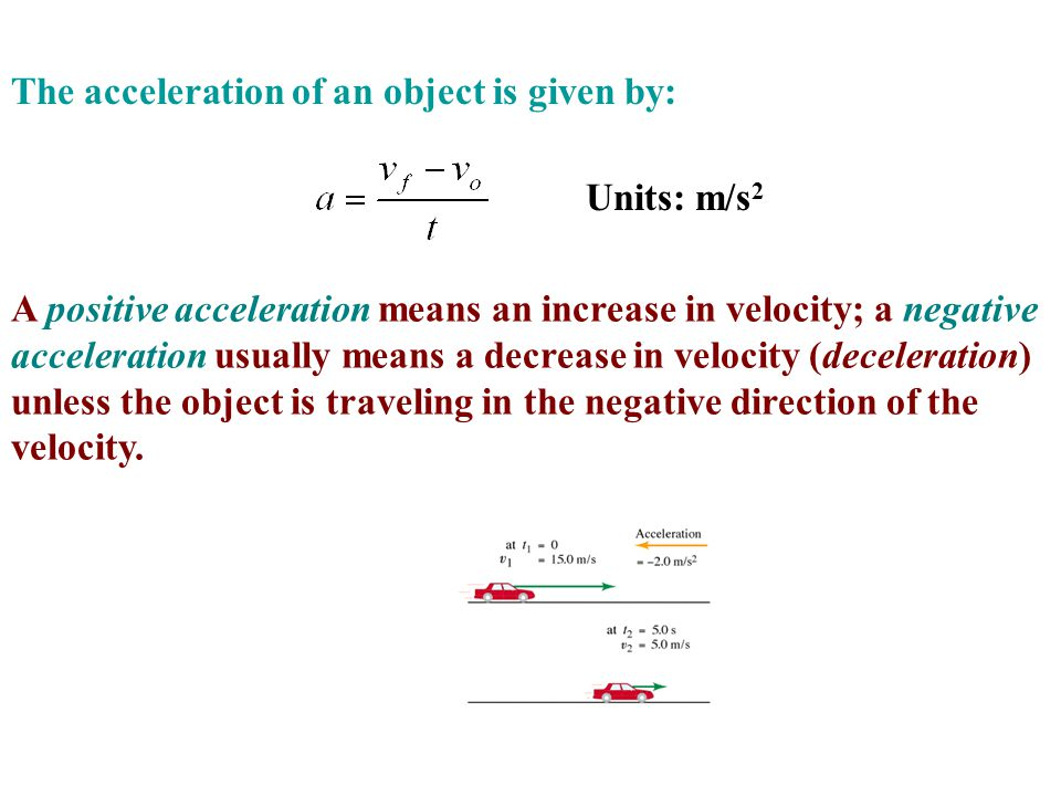 The acceleration of an object is given by: