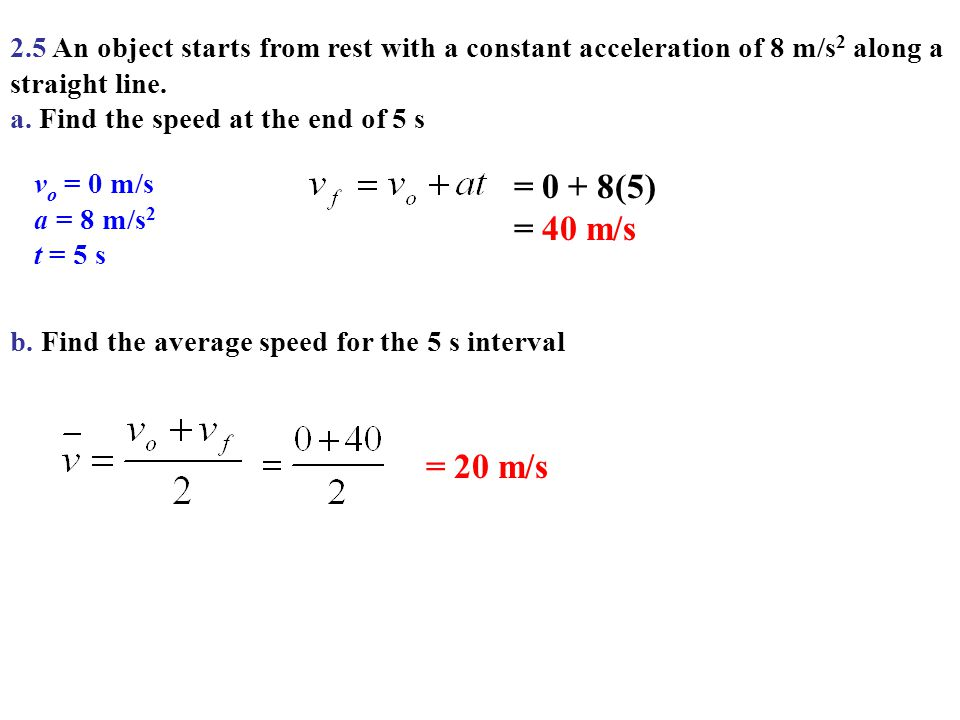 2.5 An object starts from rest with a constant acceleration of 8 m/s2 along a straight line.