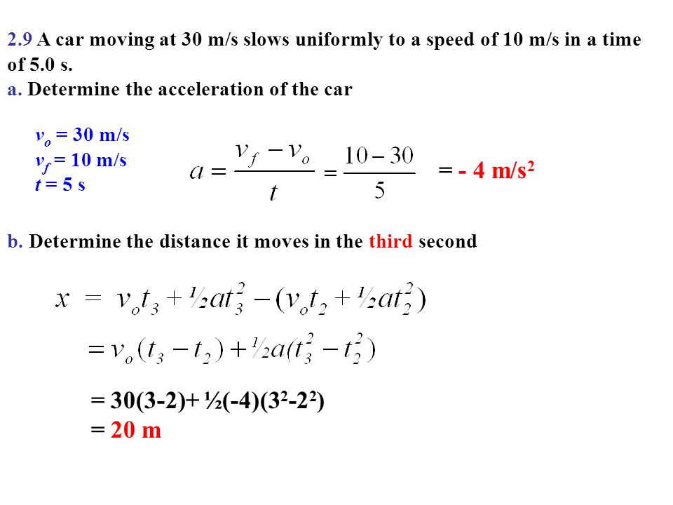 2.9 A car moving at 30 m/s slows uniformly to a speed of 10 m/s in a time