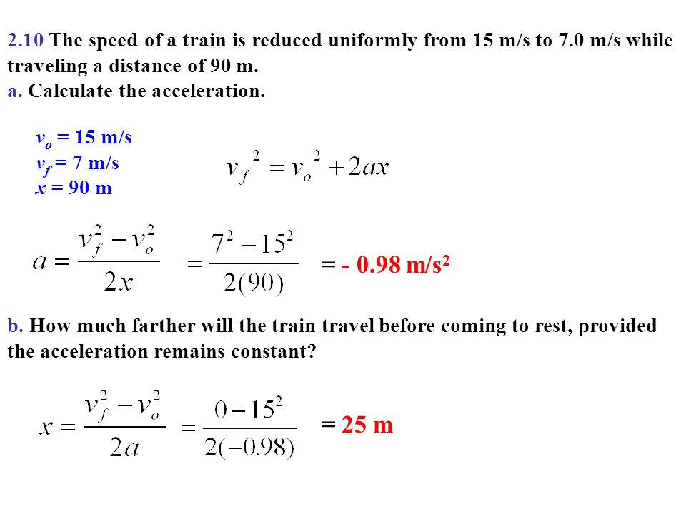 2. 10 The speed of a train is reduced uniformly from 15 m/s to 7