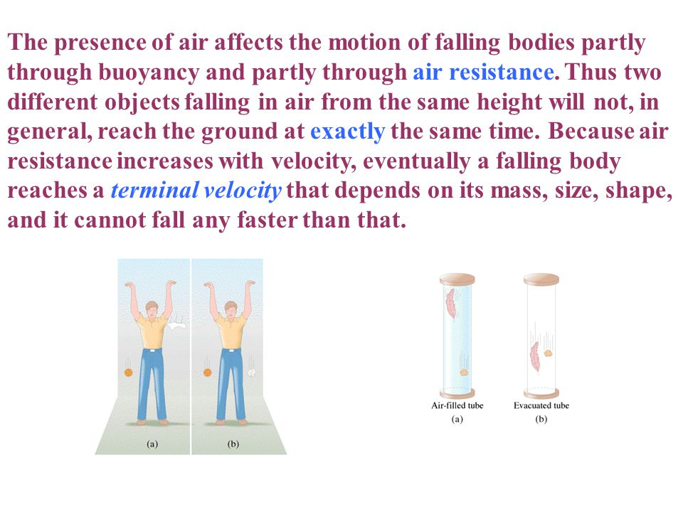 The presence of air affects the motion of falling bodies partly through buoyancy and partly through air resistance.