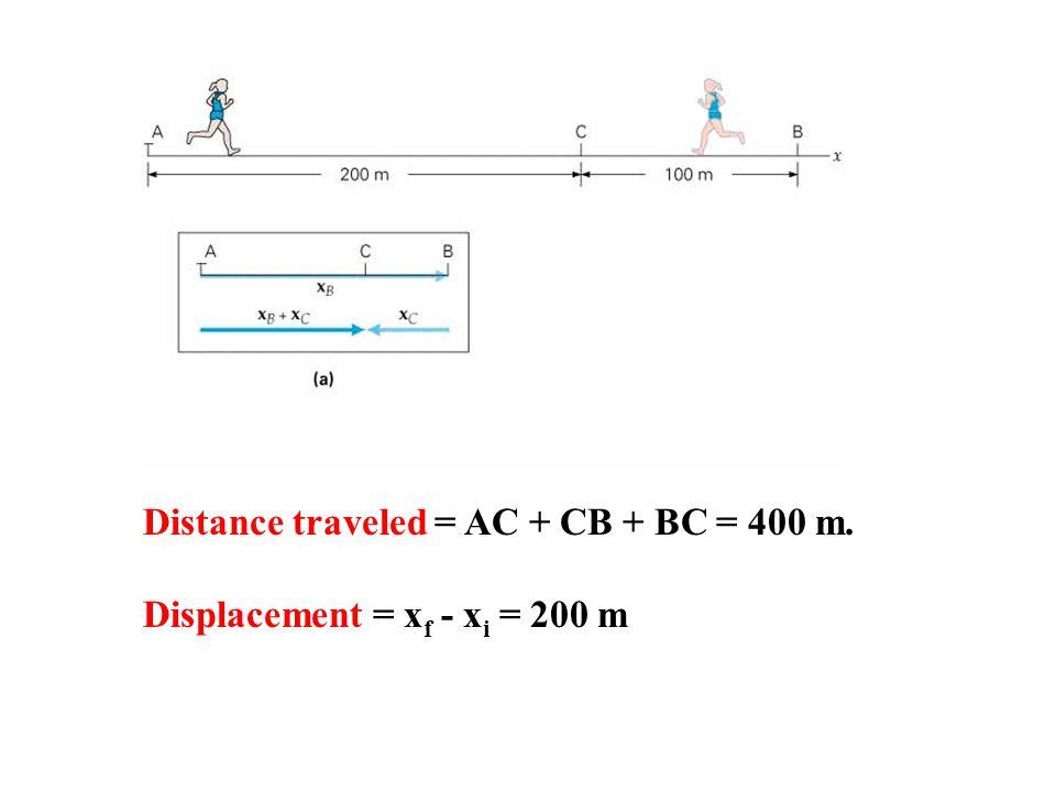 Distance traveled = AC + CB + BC = 400 m.