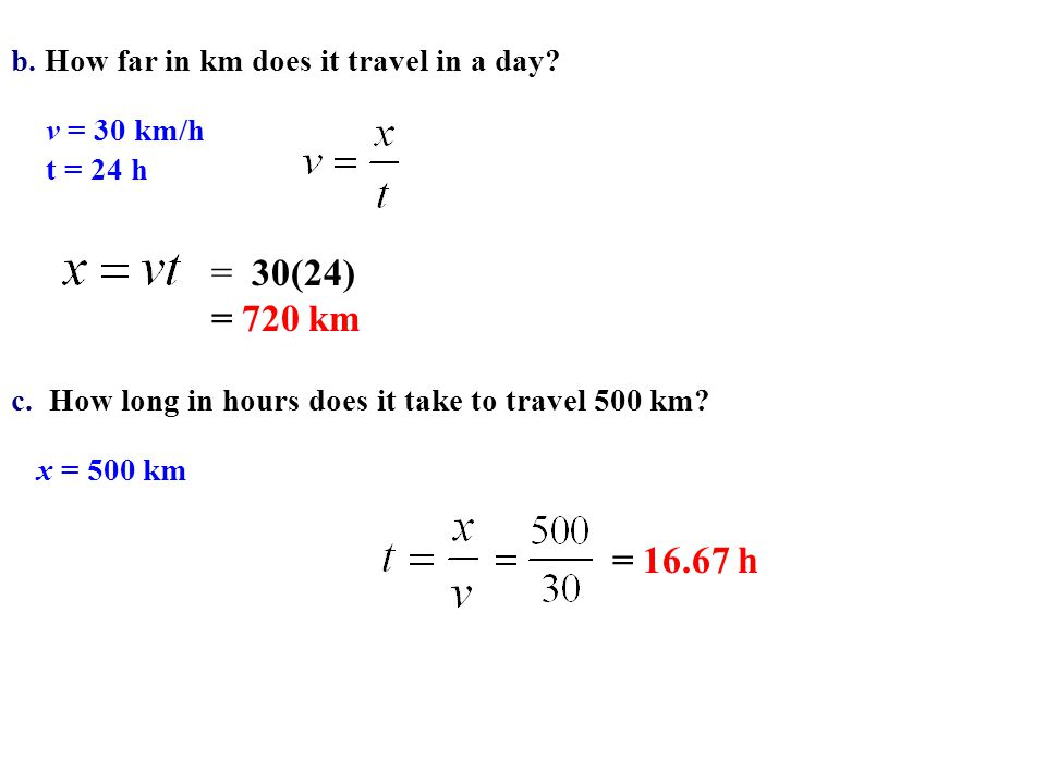 = 30(24) = 720 km = 16.67 h b. How far in km does it travel in a day