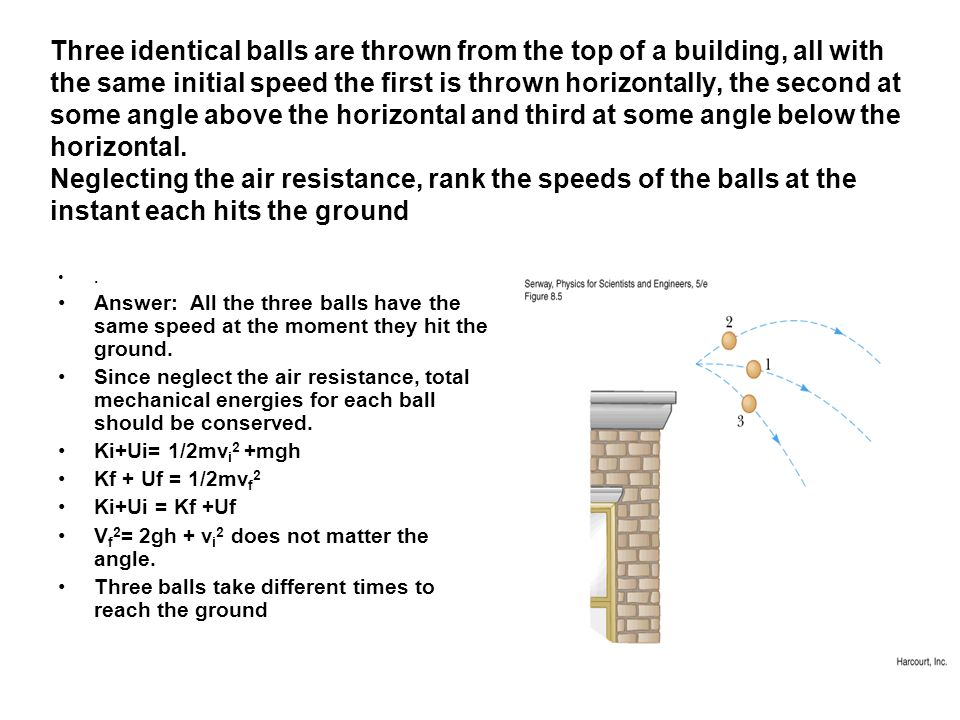 Three identical balls are thrown from the top of a building, all with the same initial speed the first is thrown horizontally, the second at some angle above the horizontal and third at some angle below the horizontal. Neglecting the air resistance, rank the speeds of the balls at the instant each hits the ground